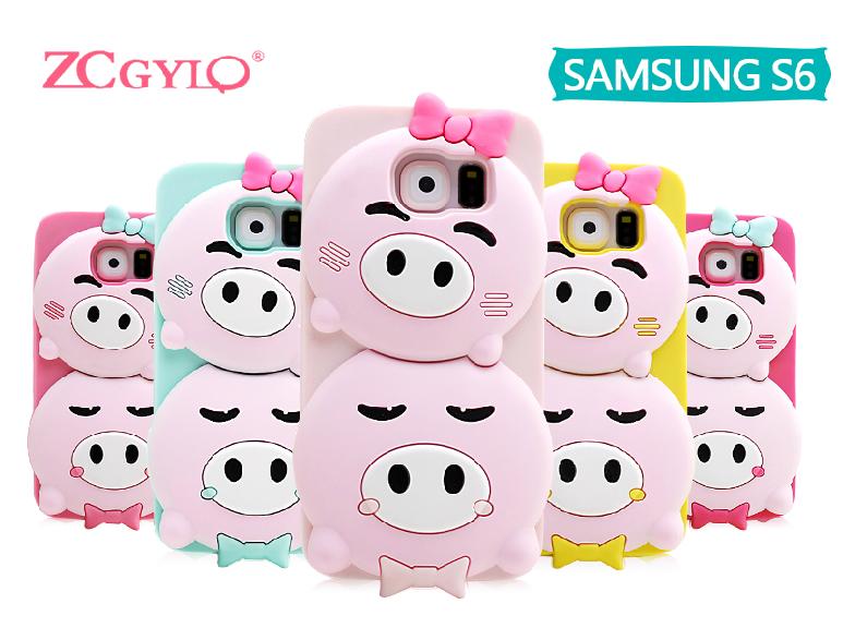 """Samsung S6 G920  противоударный силиконовый 3D TPU чехол накладка бампер для телефона """"QUIPA PIGS"""""""