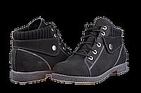 Женские ботильоны кожаные нубук mida 22013нуб.ч чёрные   весенние , фото 1