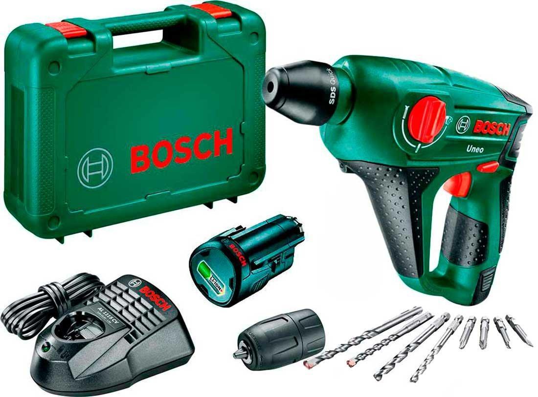 Аккумуляторный перфоратор Bosch Uneo 12 В + 1 акб 2,5 Ah + 1 акб 1,5 Ah в подарок (0603984027A)