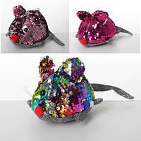Мягкая игрушка MP 1963  мышка, 12см, пайетки, присоска, микс цветов