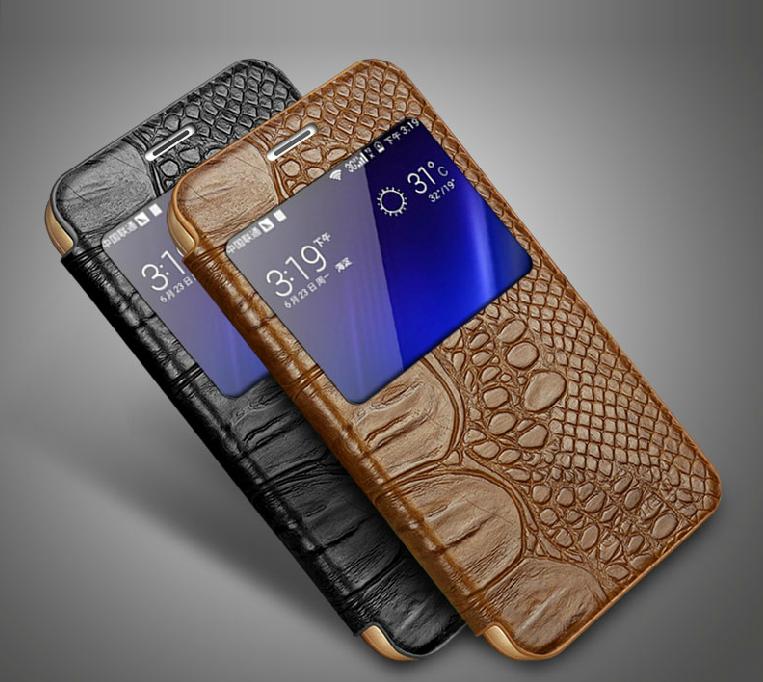 "Samsung S6 G920 чехол книжка S VIEW COVER НАТУРАЛЬНАЯ ТЕЛЯЧЬЯ КОЖА ""GUSTELL CROCODYLE  smart or clasic"""