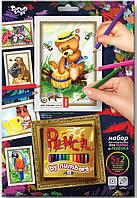 Раскраски по номерам Pencil by nombers 5 рисунков. Мишка PBN-01-08 Danko-Toys Украина
