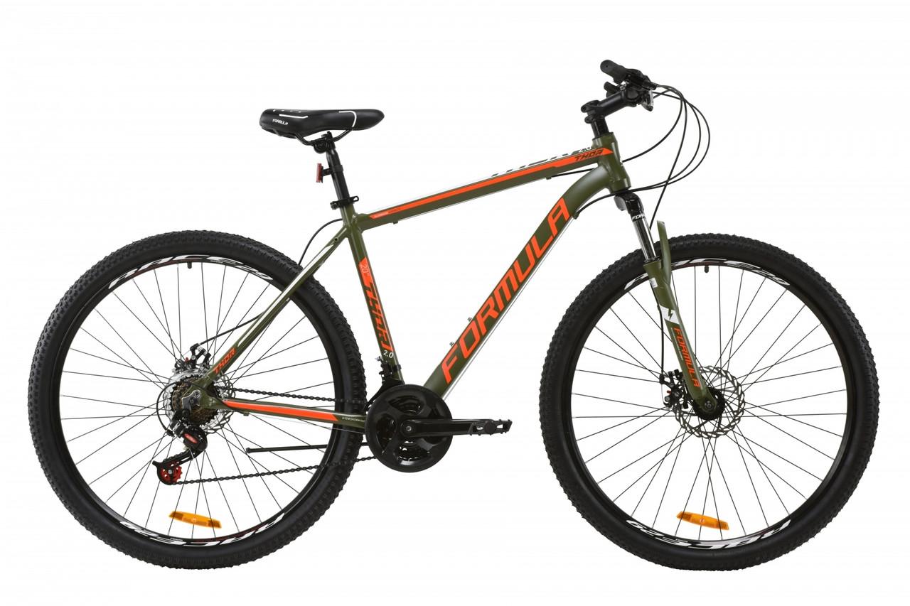 """Горный велосипед AL 29"""" Formula THOR 2.0 AM DD 2020 (хаки с красным и белым (м))"""