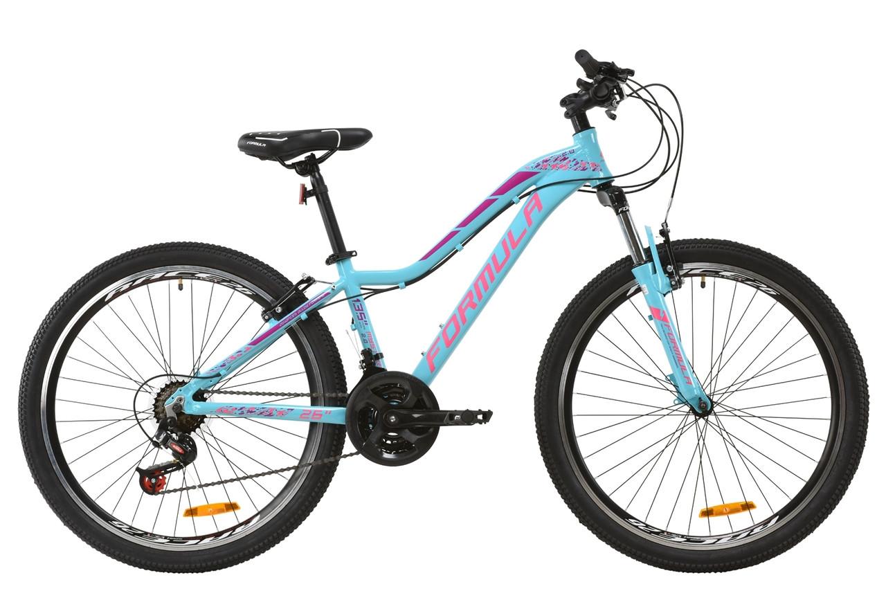 """Горный велосипед AL 26"""" Formula MYSTIQUE 2.0 AM Vbr 2020 (перламутровий аквамариновий с бордовым и белым)"""
