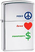 Зажигалка Zippo 24714 Peace Love Prosperity (Мир, любовь, процветание)