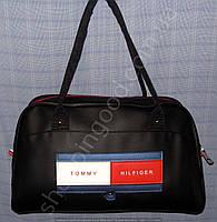 Сумка 013355 саквояж черная круглые ручки спортивная женская гладкая эко-кожа