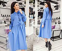 """Стильное свободное женское платье до больших размеров 0126 """"Хлопок Бантики Завязки"""" в расцветках"""