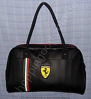 Сумка Puma Ferrari 013357 саквояж черная круглые ручки спортивная женская гладкая эко-кожа, фото 1