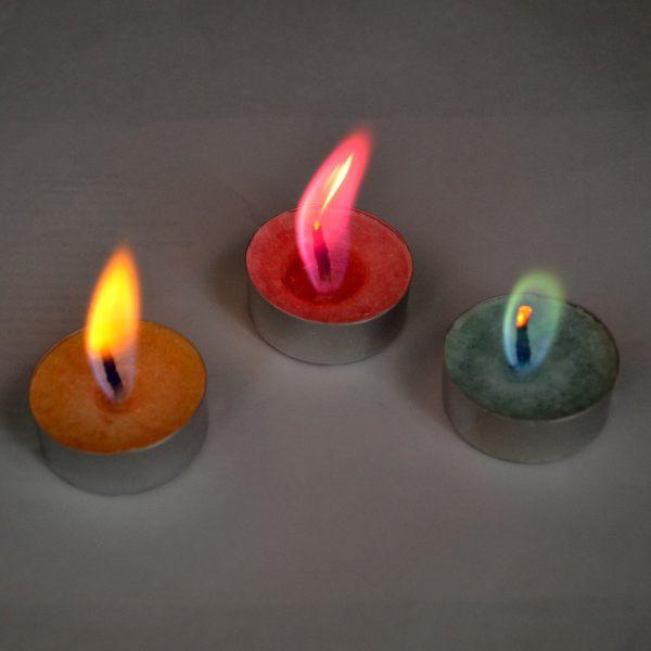 Свечи с цветным пламенем SoFun чайные свечи 6 шт