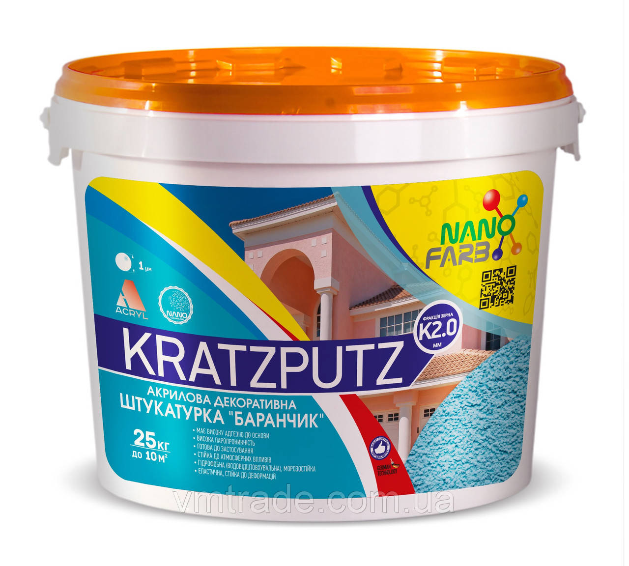 "Штукатурка акриловая декоративная Kratzputz ""барашек"" K 2.0 НаноФарб (NanoFarb) 25 кг"