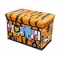 Пуфик ящик для игрушек Автобус весёлый зоопарк