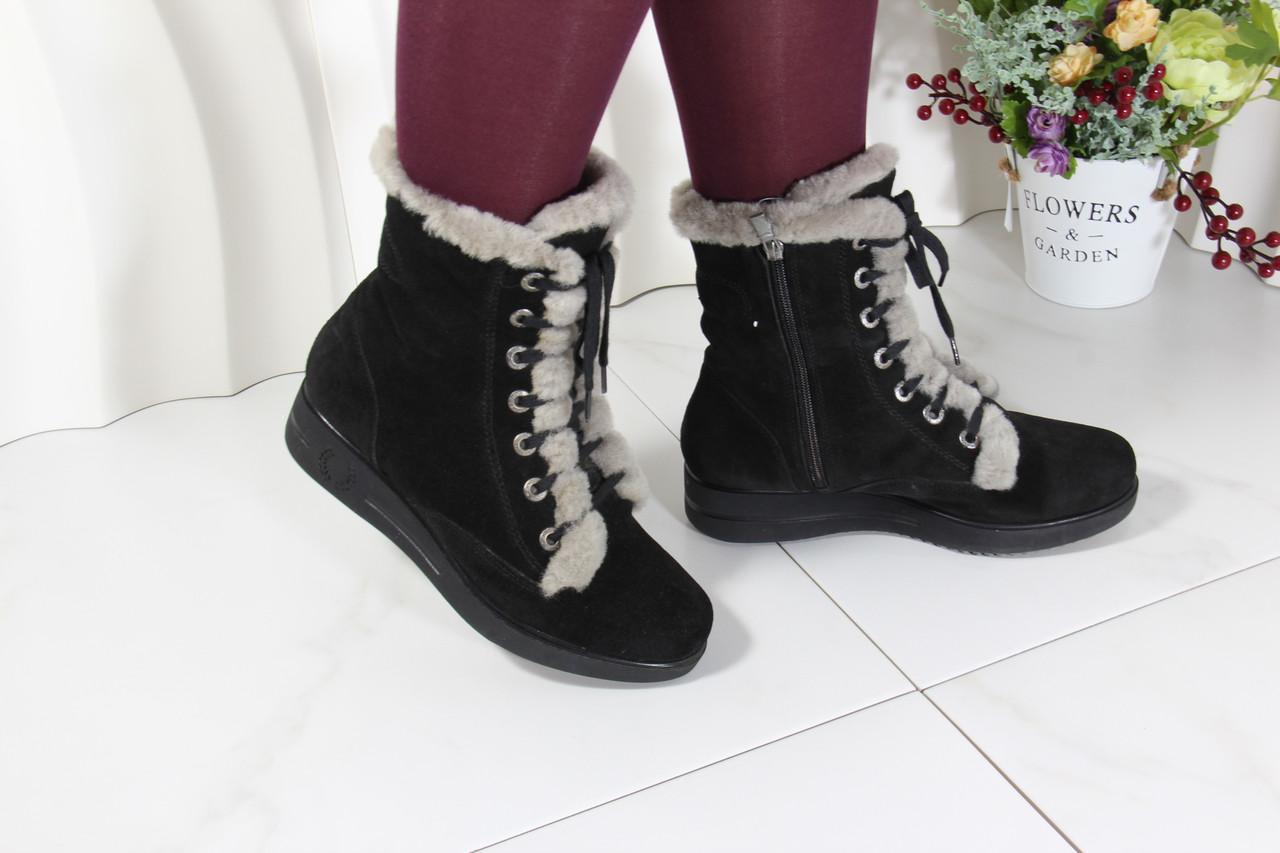 Замшеві черевики чорні Sasya 521-83