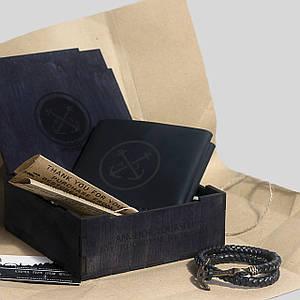 Подарочный набор для мужчины Кошелек+Браслет Square Box S Черный (as170102)