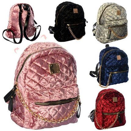 3303 Рюкзак для девочки 1 отделение 1 внутренний и 3 наружнх кармана застежка-молния 5цветов, фото 2
