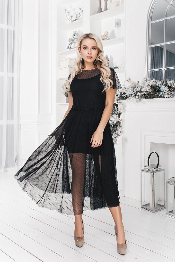 """Нарядное платье-двойка """"Janet"""" с коротким рукавом и расклешенной юбкой"""