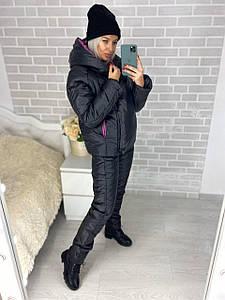Женский лыжный костюм черного цвета на синтепоне р. 42, 44, 46