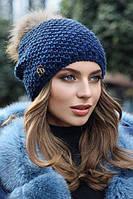 Женская шапка с меховым бубоном Кларк, фото 1