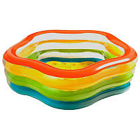 56495 Бассейн Интекс надувной, 3 кольца, летние краски, 466 л, 4,53 кг, 185-180-5 см