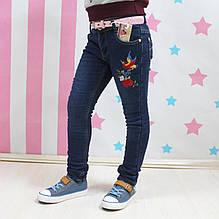 89909 Джинсы девочке на флисе вышивка Колибри размер 134,140,146,152,158,164 см