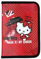 Пенал 621 Hello Kitty-1 мягкий Kite, 1 отделение с отворотом, красный в клеточку