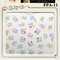 Наклейки для Ногтей Самоклеющиеся 3D Nail Sticrer FPA-11 Цветы Белые, Розовые, Маникюр, Слайдеры для Дизайна