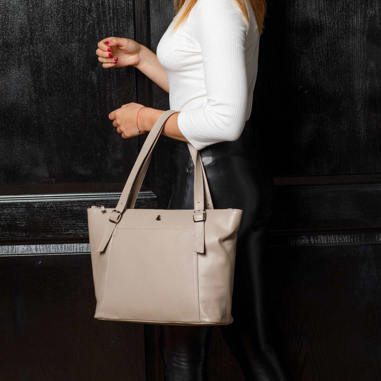 Большая бежевая вместительная кожаная женская сумка с двумя ручками, на молнии, цвет любой на выбор