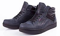 Стильно Модно Супер! Levis 3 зимние мужские ботинки из натуральной кожи Levi's shoes синие