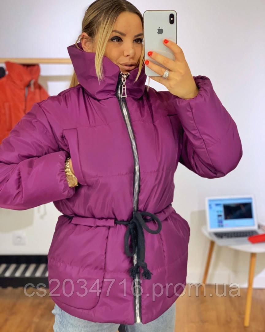 Женская теплая зимняя курточка горло стойка