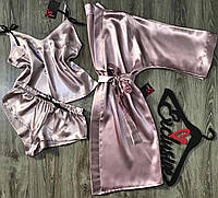 Пудровый халат+пижама-комплект.
