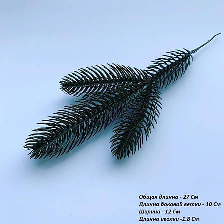Веточка ели зелёная. Еловая ветка для новогоднего декора ( 27 см ), фото 2