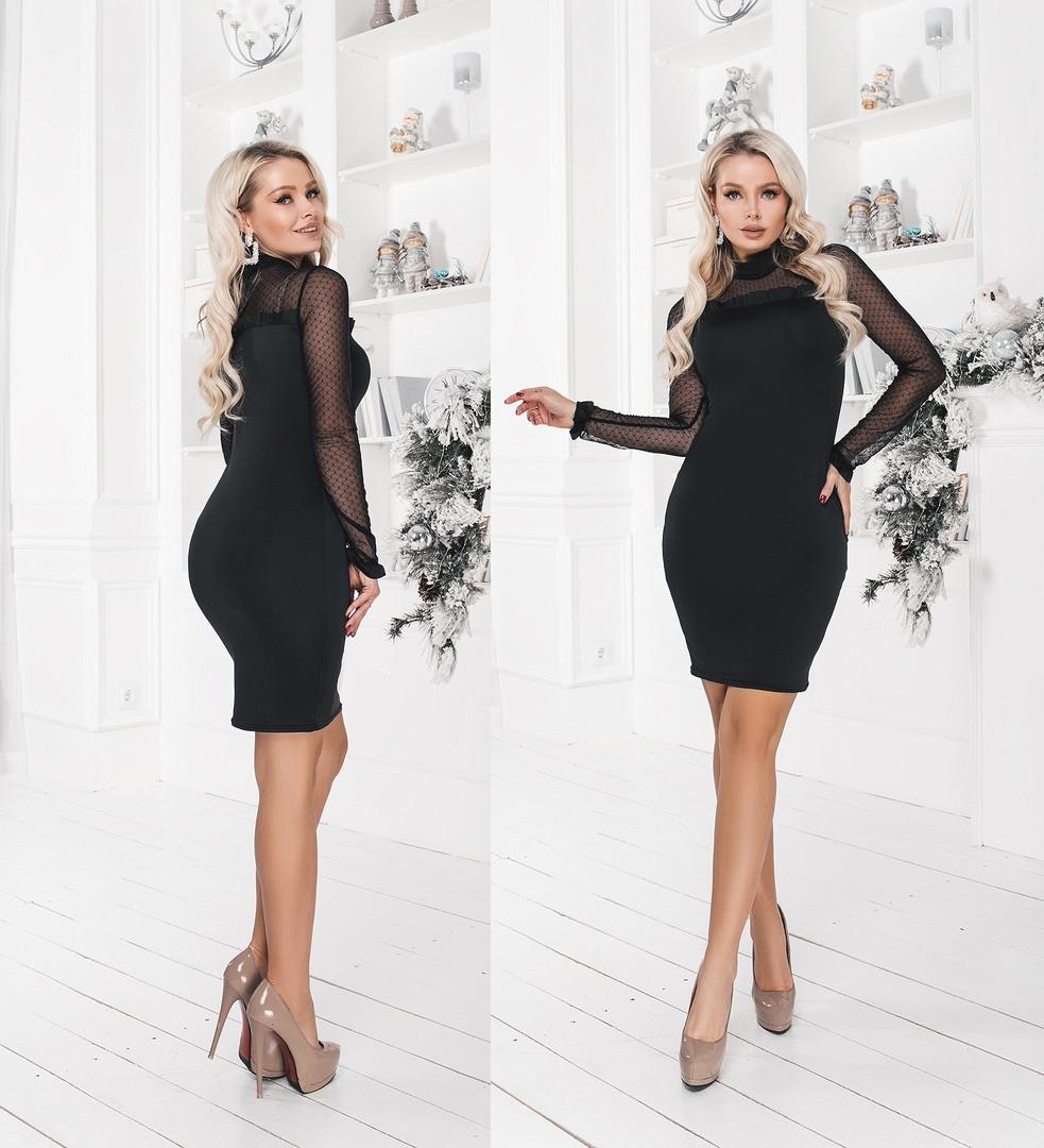 """Нарядное облегающее платье-мини """"ROUMER"""" с сеткой и длинным рукавом"""