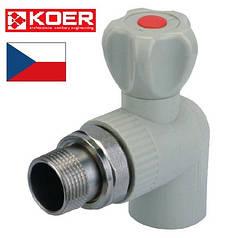 Кран радиаторный угловой 25х3/4 с латунной американкой KOER
