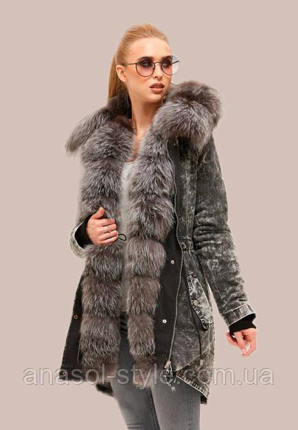 Куртка зимняя парка джинсовая с мехом чернобурки цвет черный мрамор