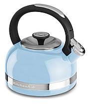 Чайник KitchenAid KTEN20DBEU 2.0-Quart Full Handle and Trim Band Stovetop Kettle, 2 Qt, Cameo Blue