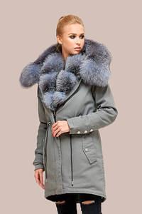 Куртка зимняя парка с мехом чернобурки серый джинс