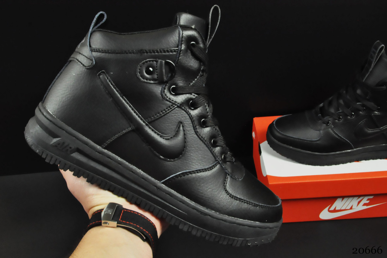 Ботинки Nike Lunar Force 1 арт 20666 (зимние, найк, черные)