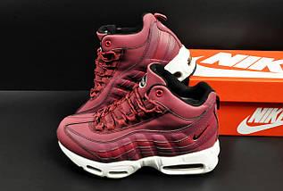 Ботинки Nike Air Max 95 Sneakerboot арт 20659 (зимние, найк, бордовые), фото 2