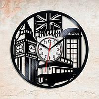 Виниловые часы Часы Лондон Город на часах Лондонские часы Предметы интерьера Туристические часы Диаметр 30 см
