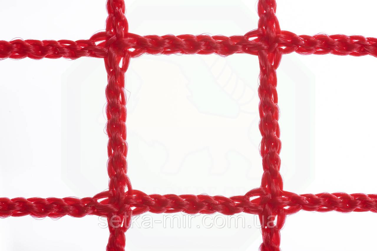Оградительная сетка безузловая испанская, D – 2 мм, ячейка – 2 см, для спортзалов и стадионов, красная