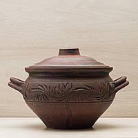 Супник з ручками з червоної глини 2.5 л декор різання, фото 1