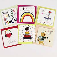 Дизайнерская мини открытка с конвертом 414-7 (0109), МИКС расцветок, 75*75мм. Продажа кратно 12 шт!