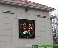 Часы светодиодные электронные для улицы с измерением температуры, давления