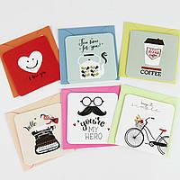 Дизайнерская мини открытка с конвертом 414-8 (0109), МИКС расцветок, 75*75мм. Продажа кратно 12 шт!