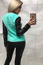 Куртка женская из кашемира и экокожи на тонкой подкладке /разные цвета, 42-44,44-46, ft-349/, фото 3