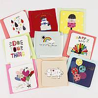 Дизайнерская мини открытка с конвертом 414-5 (0109), МИКС расцветок, 75*75мм. Продажа кратно 18 шт!