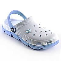 Кроксы Jose Amorales женские белый/голубой. Рабочая медицинская и поварская обувь, клоги, сабо.