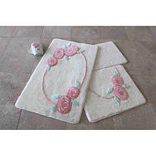 Набор ковриков  для ванной комнаты ALESSIA набор (2 предмета). Белый с розами