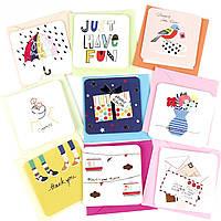 Дизайнерская мини открытка с конвертом 414-6 (0109), МИКС расцветок, 75*75мм. Продажа кратно 9 шт!