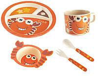 Детский набор посуды из бамбука мистер краб xiyibaby