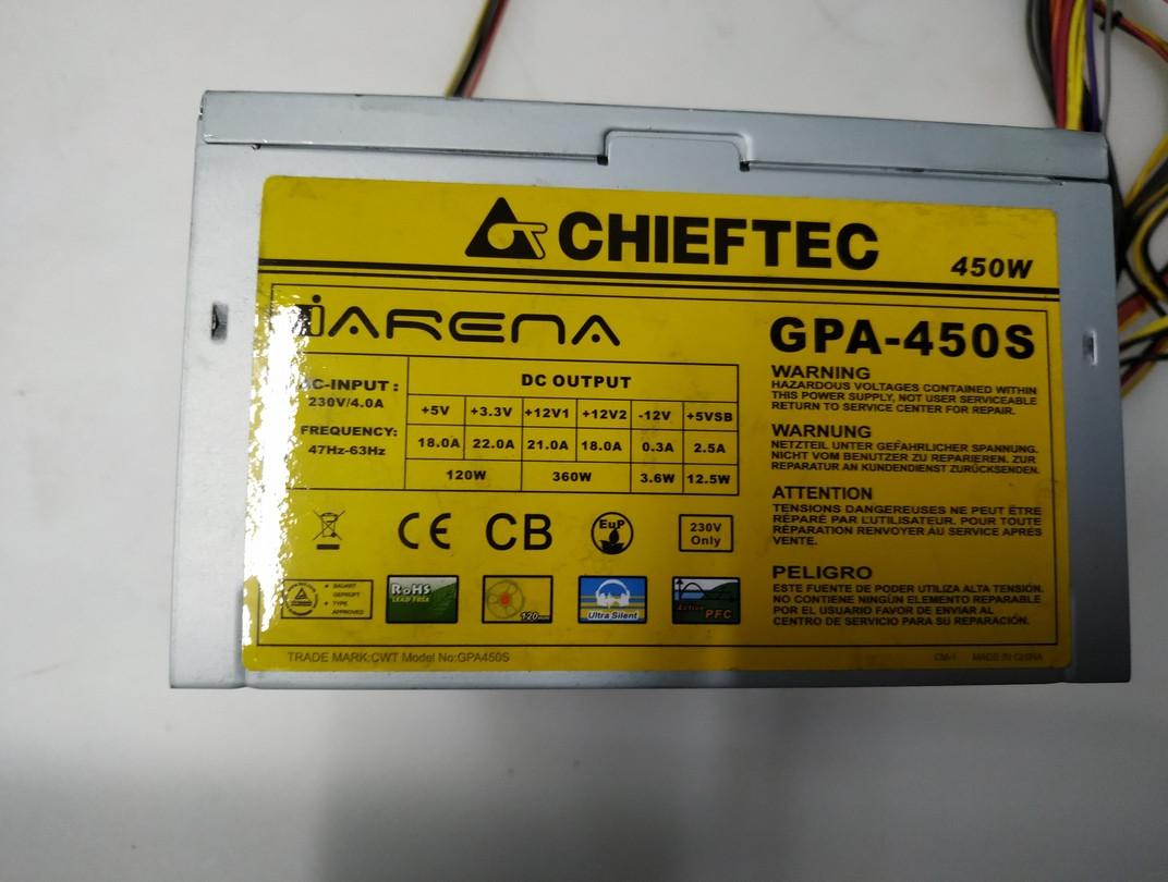 Блок живлення 450W Chiefteс GPA-450S кулер 1х120мм